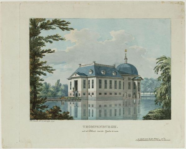 Buitenplaats Trompenburg in 's-Graveland, door H. Numan, 1797.