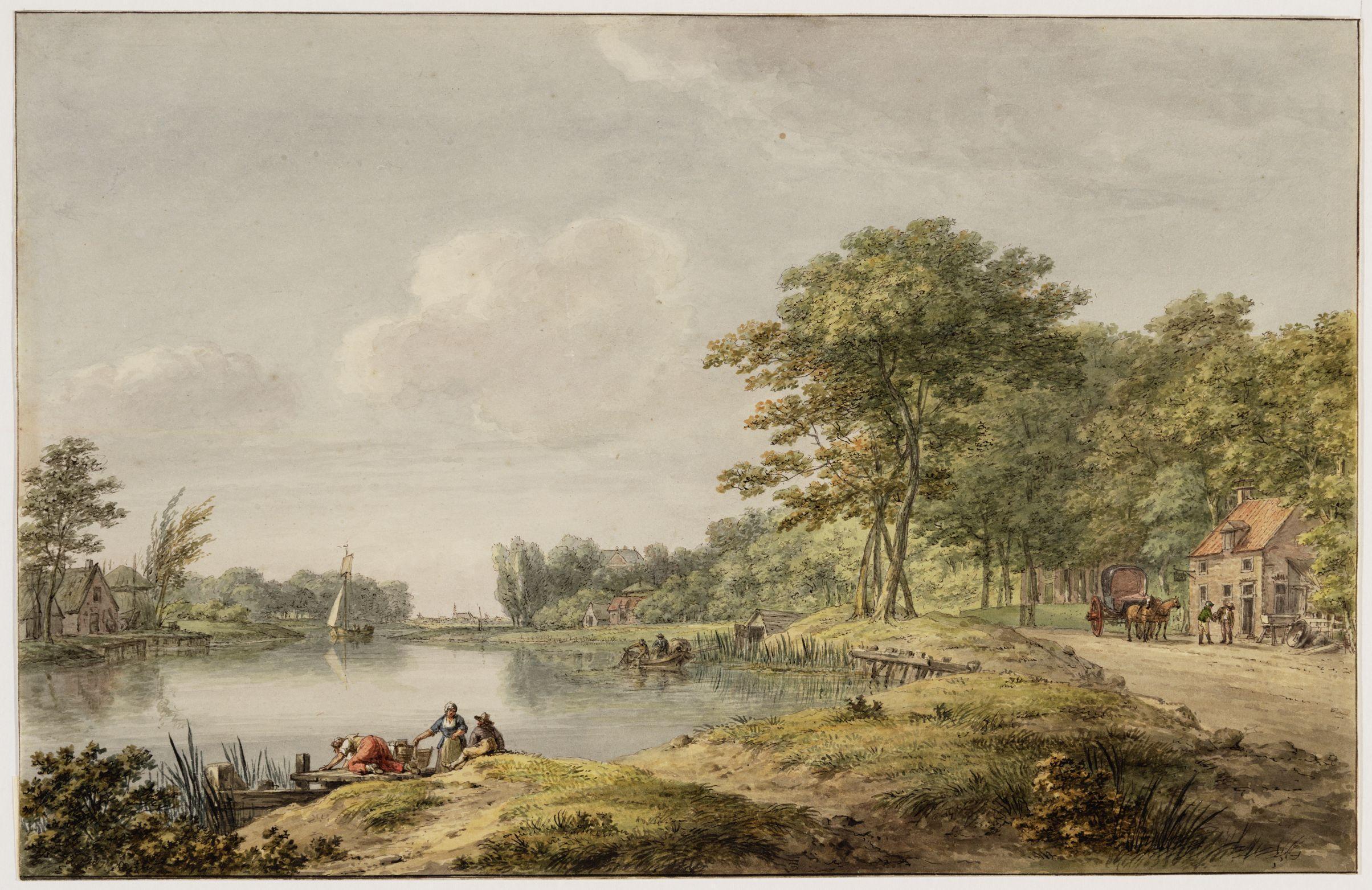 Gezicht op de Vecht bij Weesp, door H. Numan.