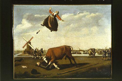 Een schilderij van het drama: de stier neemt Jacob Egh op de hoorns
