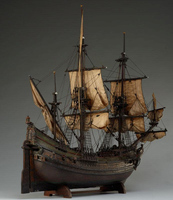 Model van een fluitschip uit de Gouden Eeuw.