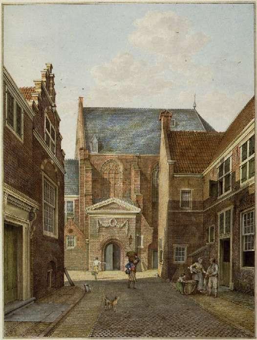 Lange Begijnestraat en Waalse Kerk, ingang zuidzijde. Aquarel van H.P. Schouten, ca.1780.