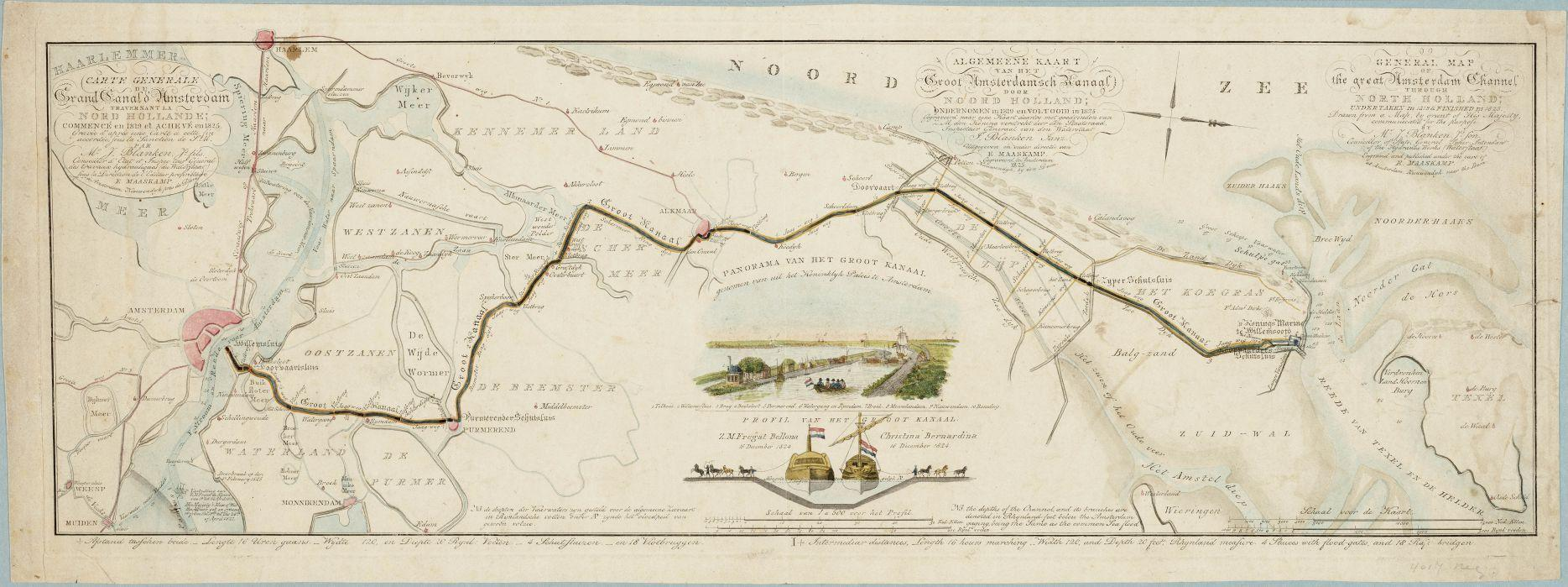 De loop van het Noordhollands Kanaal, 1876.