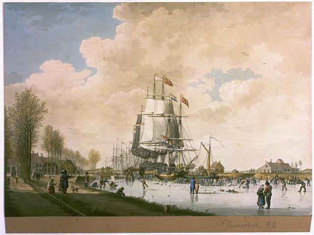 Schepen en ijsbrekers in het Noordhollands Kanaal bij Purmerend, door J.H. Koekoek, 1830.
