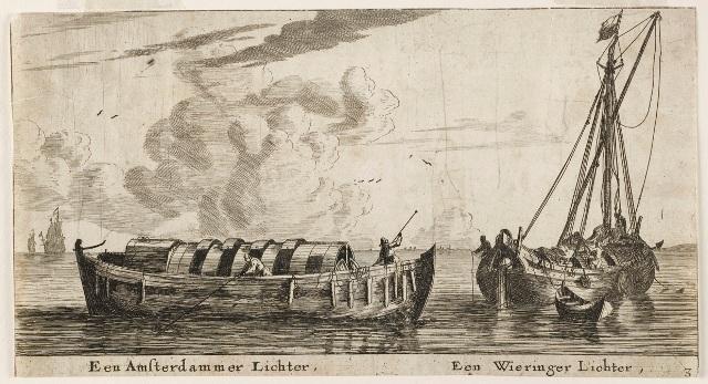 Lichterschepen. Gravure Reinier Nooms, 18e eeuw.