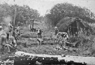 Reconstructie kamp van de Enkelgrafcultuur.