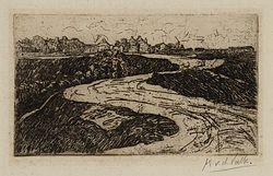Ets van de Spaarndammerdijk, gezien in westelijke richting naar enkele boerderijen bij Sloterdijk.
