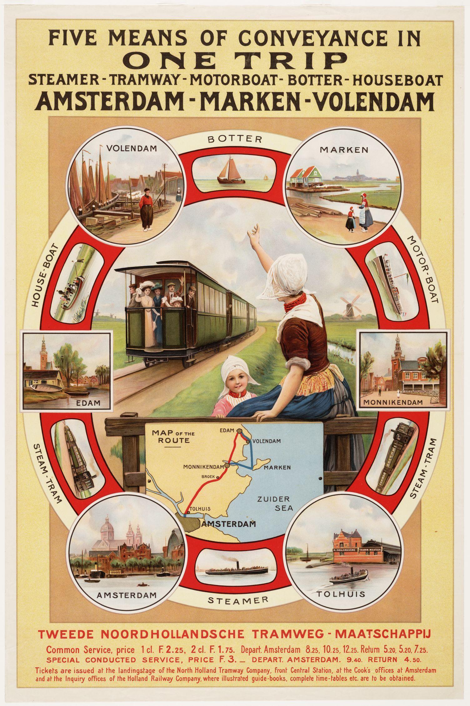 Affiche uit 1930 van het tram-en-boottraject Amsterdam-Marken-Volendam.