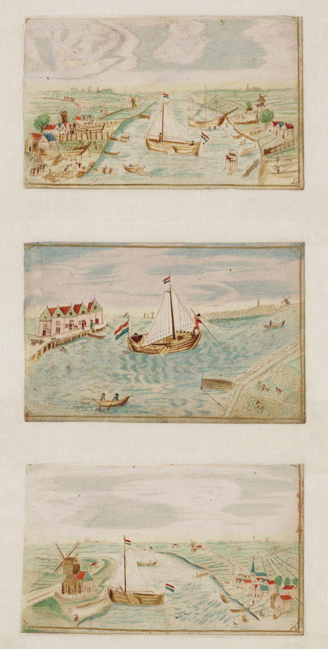 Getekend journaal van een bootreis van Amsterdam naar Alkmaar.