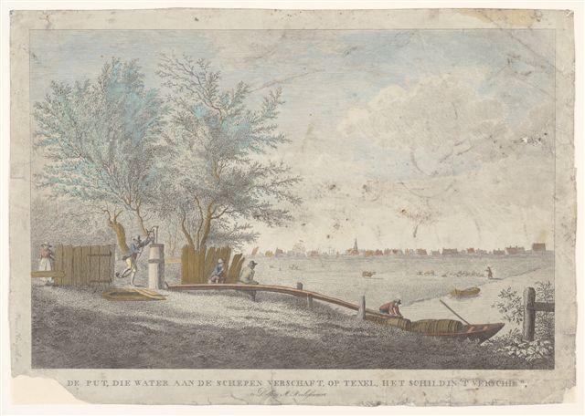 De pomp op de Wezenputten en de Skilsloot bij Oudeschild, gravure Pieter van Cuyck.