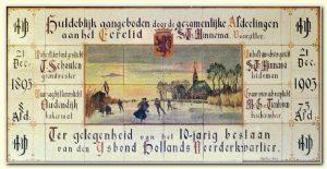 Uniek tegeltableau van IJsbond Hollands Noorderkwartier uit 1905