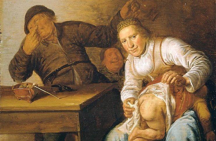 Jan Miense Molenaer, de vijf zintuigen, reuk, zeventiende eeuw, humor, stank, olieverf, doek, Mauritshuis, Den Haag