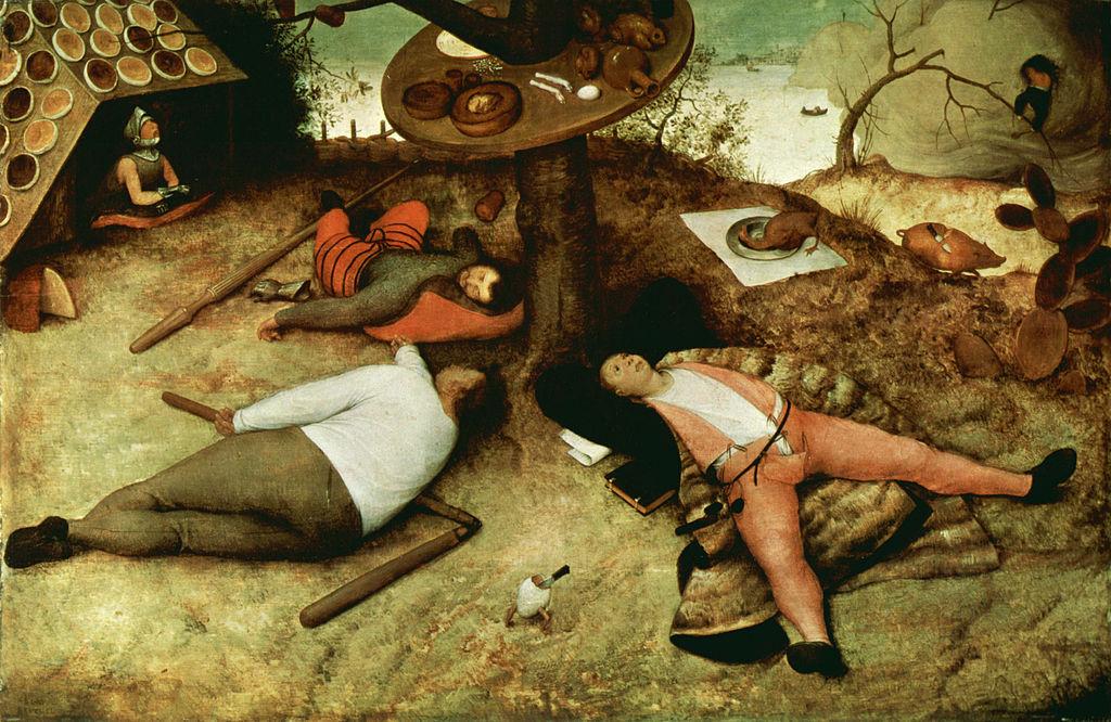 Pieter Brueghel, Luilekkerland, Middeleeuwen, Humor, Vraatzucht, Overdaad