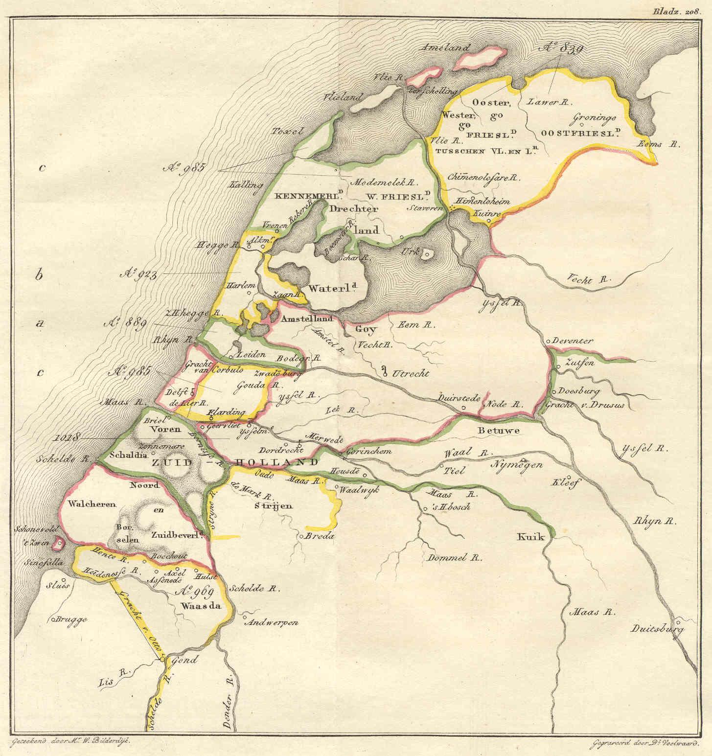 Vronen op een kaartje van Nederland rond ca. 1000: onderin het bovenste groene gebied (waar Texel nog aan vast zit), tussen Kennemerland en Alkmaar.  Willem Bilderdijk, Bestuurlijke kaart van Nederland omstreeks het jaar 1000 (1832). Beeld: via Wikimedia Commons