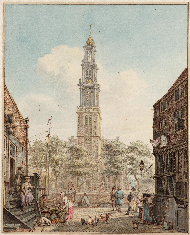 H.P. Schouten, Bloemstraat gezien naar de Prinsengracht met de Westerkerk, 1778 Stadsarchief Amsterdam. Collectie Atlas Splitgerber
