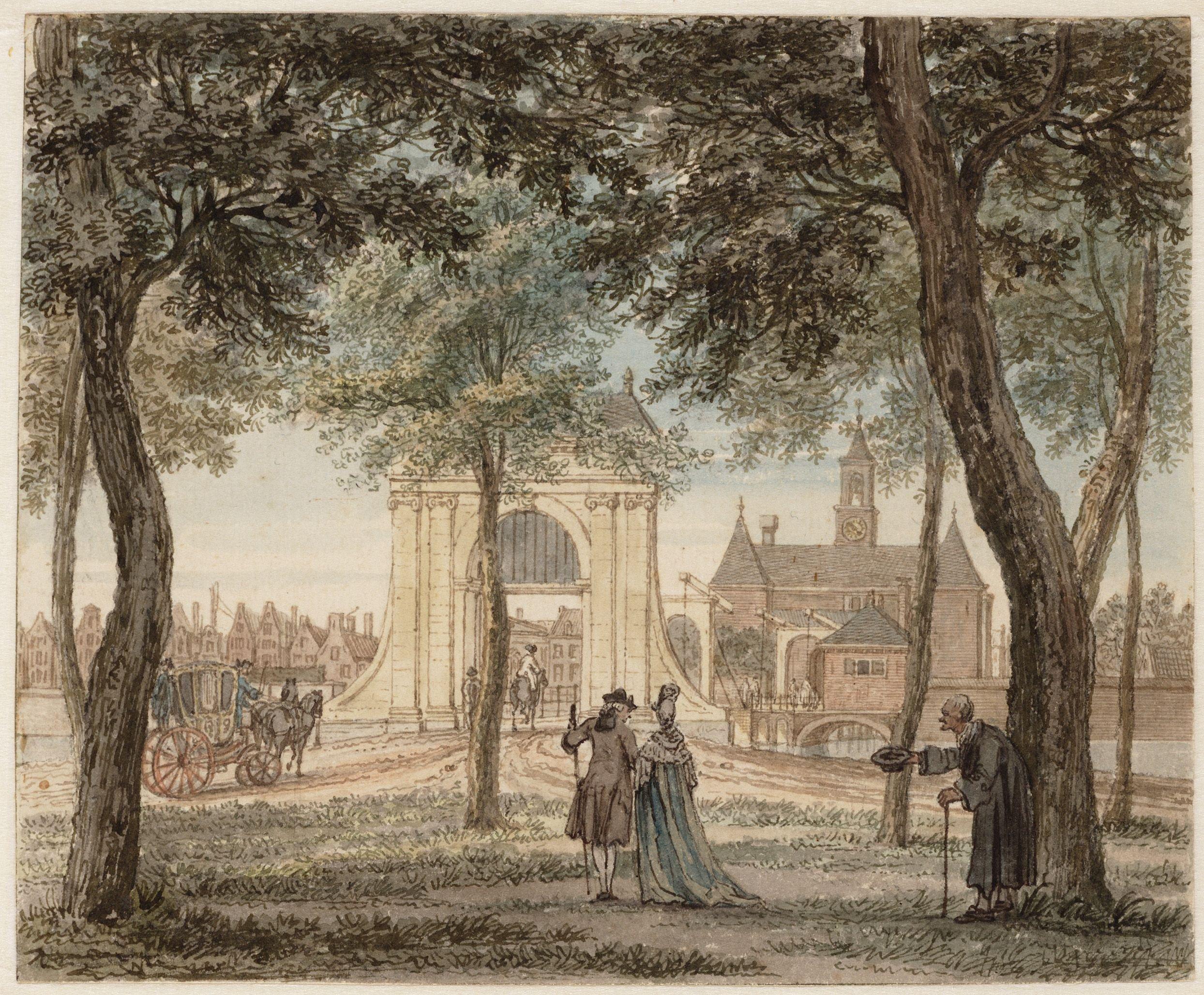Reinier Vinkeles, Gezicht van het Leidsebosje naar de Leidsepoort,1769 Stadsarchief Amsterdam. Collectie Atlas Splitgerber