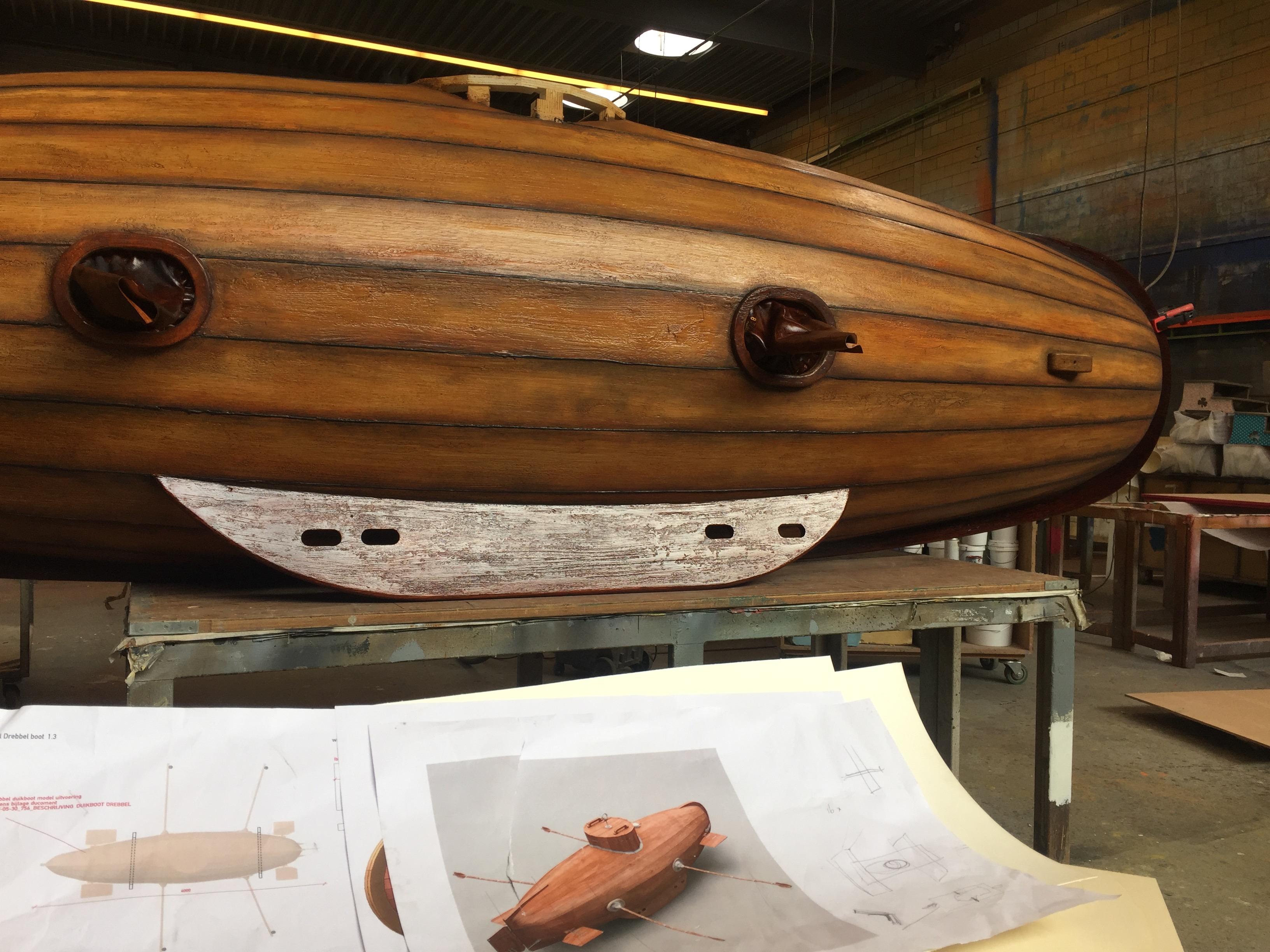 Reconstructiemodel van de duikboot van Drebbel in aanbouw Foto: Het Scheepvaartmuseum Amsterdam