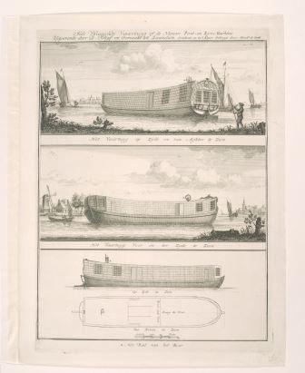 Het 'vliegende vaartuig of de Nieuwe Post- en Rijs- Machine' van Daam Schijf. Hendrik de Leth, Gravure, 1743. Het Scheepvaartmuseum.