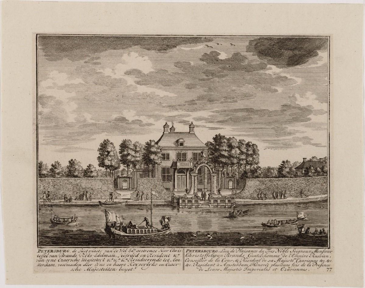 Deze prent van Daniël Stopendael (1672-1726) toont de aankomst van tsaar Peter de Grote bij de buitenplaats Petersburg (Beeldbank Noord-Hollands Archief).
