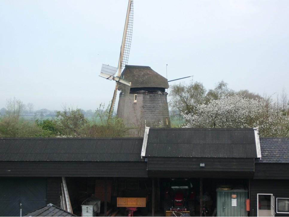 Achter de opslagplaatsen bij het fort houdt molen Gabriël de wacht.