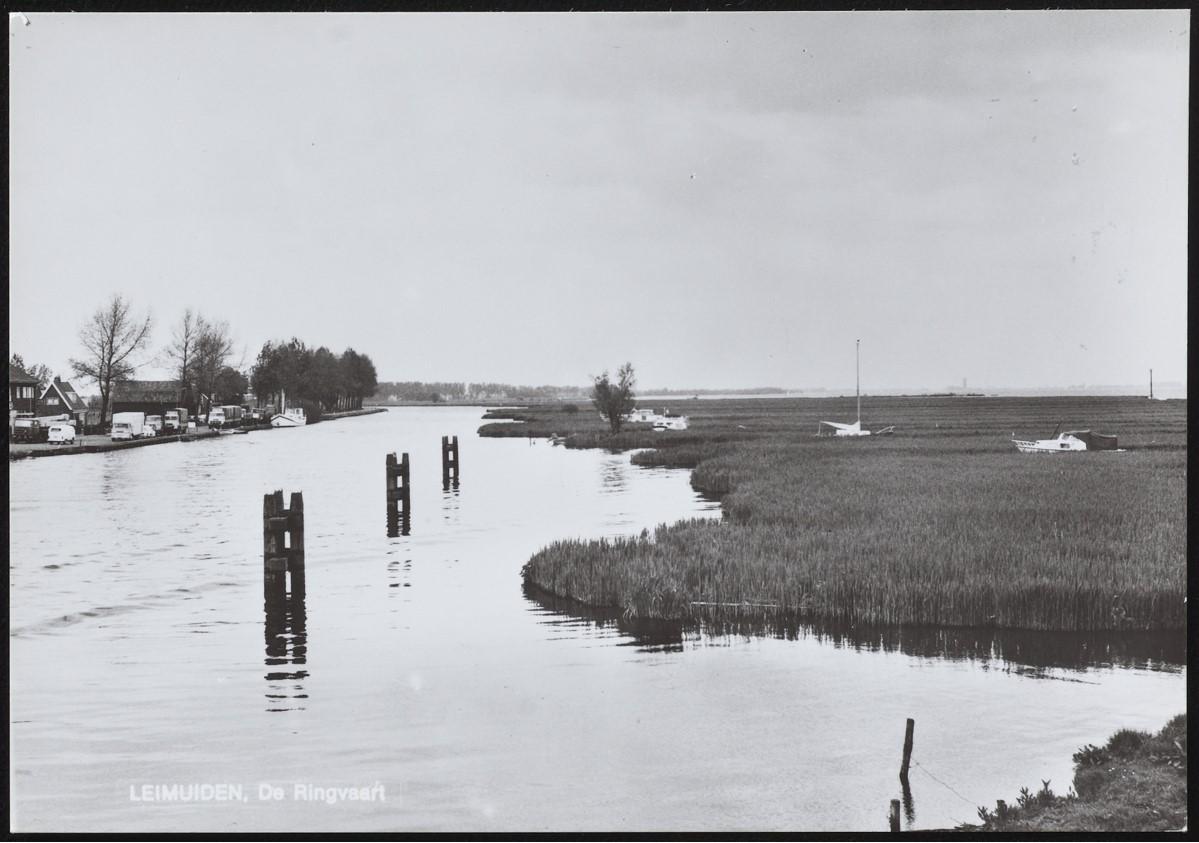 Oude foto van de Ringvaart bij Leimuiderbrug met rechts het rietland, 'de Wildernis' (Foto Beeldbank Noord-Hollands Archief).