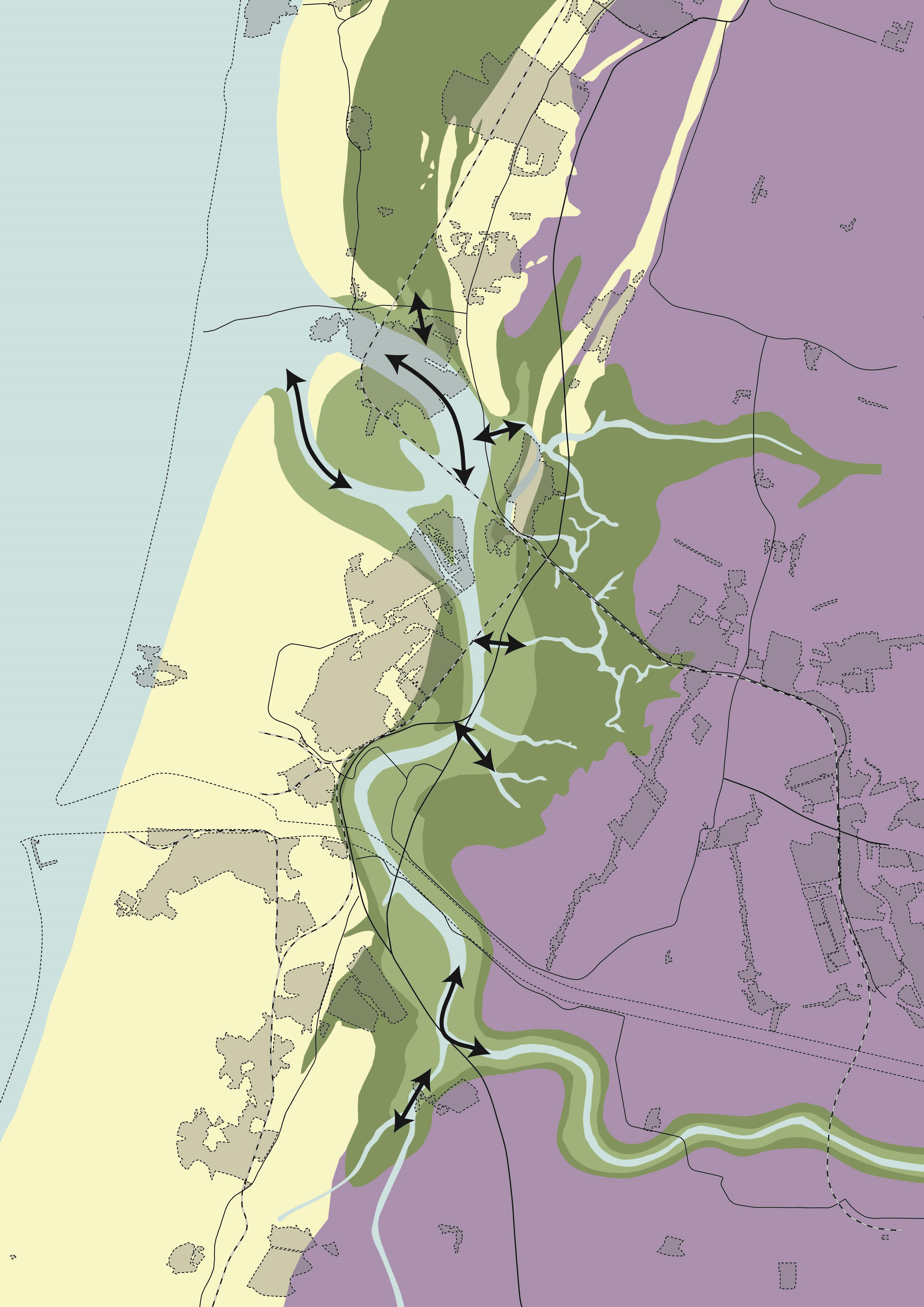 Oer-IJ op de kaart, met bovenin de plek waar duizenden jaren geleden een noordelijke aftakking van de Rijn bij Castricum de zee in stroomde