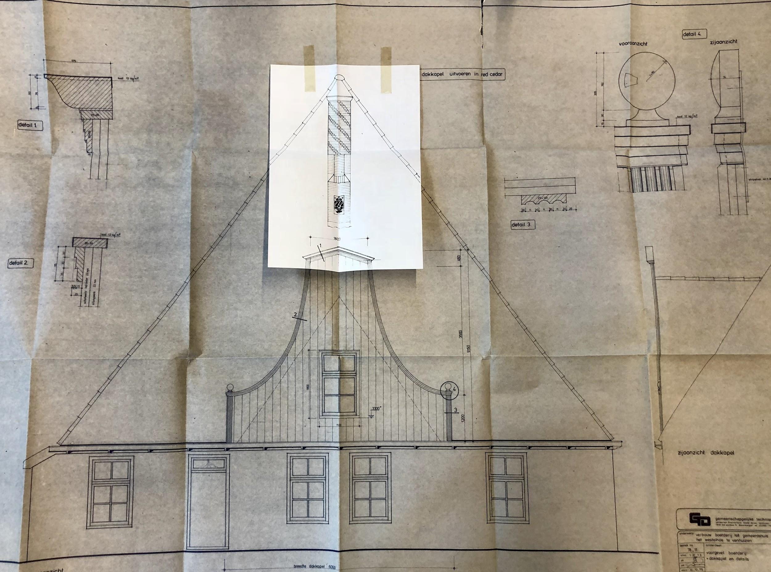 De bouwtekening van de stolp, waarop de traditionele ronde schoorsteen duidelijk te zien is. Bron: Westfries Archief.