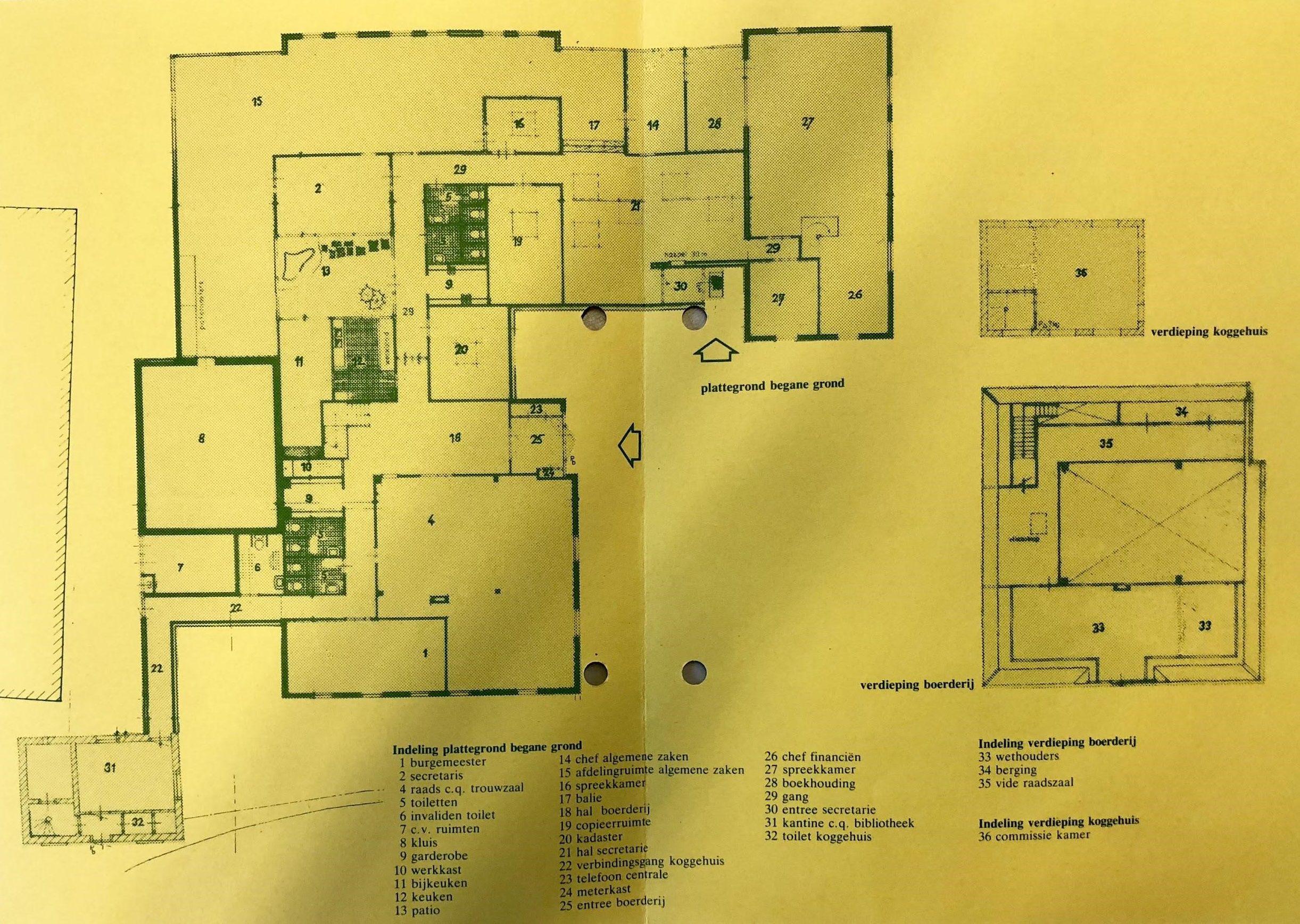 De plattegrond van het nieuwe gemeentehuis. Beeld: Westfries Archief.
