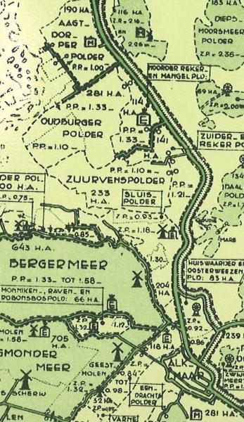 Kaartje van de polders benoorden Alkmaar in 1936.