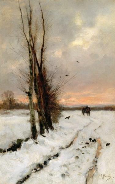 Sneeuwlandschap bij ondergaande zon, door Anton Mauve.