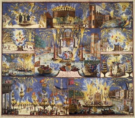 Tien afbeeldingen van vreugdefeesten bij de kroning van van Willem III tot koning van Engeland op 21 april 1689.