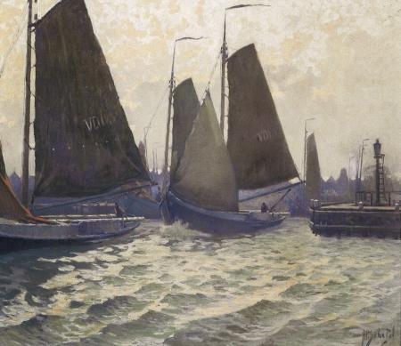 Uitvarende botters in de havenmond van Volendam, A.P. Schotel, ca. 1930.
