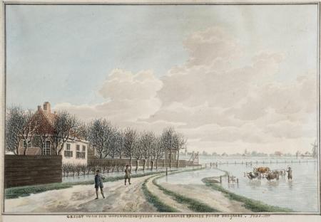 Ook voor 1836 overstroomde dit gebied regelmatig: afbeelding uit 1777.