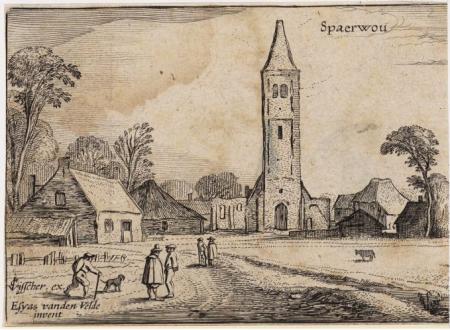 De na de Spaanse brandstichting vervallen kerk van Spaarnwoude, 1615.
