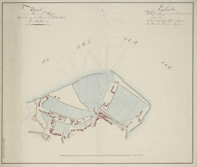 De Hoornse Haven zoals die er na de verbeteringen zou moeten uitzien. Gemaakt een jaar na het bezoek van Napoleon (1812) door cartograaf D. Mentz.