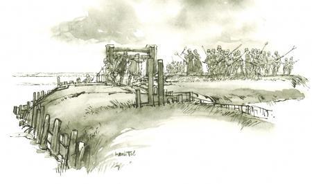 Confrontatie tussen dijkgraaf Craenhals en Assendelvers op de zeedijk bij een sluisje. Tekening door H. Tol.