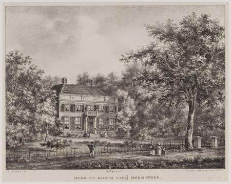 Buitenplaats Meer en Bosch ca. 1840. Reproductie van een prent van P.J. Lutgers