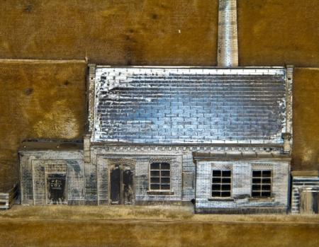 Detail maquette gemaal Waterschap De Drieban bij Venhuizen. Het stoomgemaal met links in aanbouw de elektrische installatie.