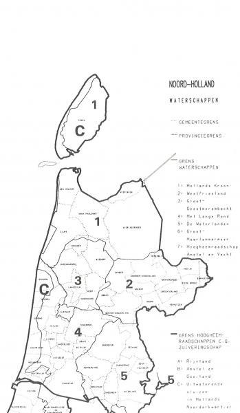 Kaartje van de Noord-Hollandse waterschappen.