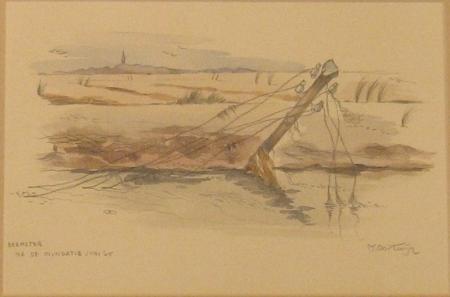 'Beemster na de inundatie juni 1945'. De door onderwaterzetting verwoeste Beemster.