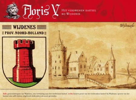 links: gemeentewapen van Wijdenes, een verwijzing naar het verdwenen kasteel rechts: fictieve prent van het verdronken kasteel bij Wijdenes; sporen van het kasteel zijn zelfs tijdens uitgebreid duikonderzoek nooit gevonden