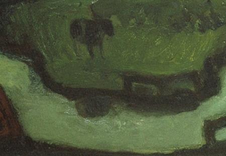 Detail Jaap Min, Groen polderlandschap (1950).