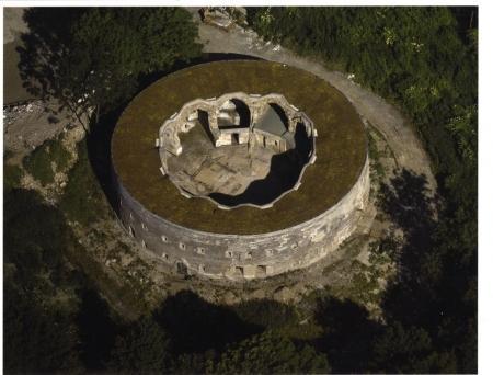 Fort Uitermeer gezien vanuit de lucht.