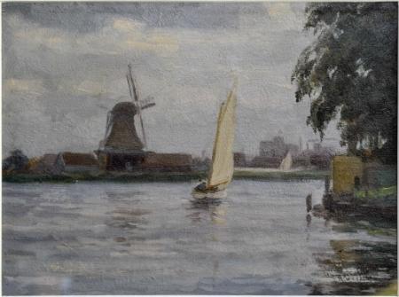 Schilderij 'Zaanerf Zaandijk met zicht op pelmolen De Witte Klok in Zaandam', Freek Engel, 1910.