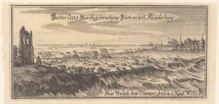 Dijkdoorbraak bij Muiderberg in november 1675.