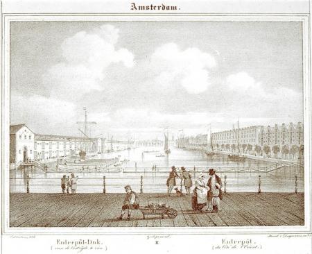 Het Entrepotdok in 1850. Bron: het Geheugen van Nederland