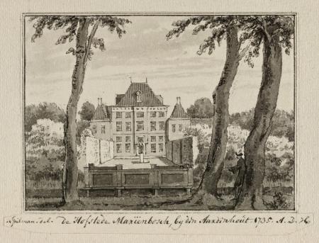 Gezicht op het huis van de buitenplaats of hofstede Mariënbosch te Aerdenhout in 1735. Tekening door Hendrik Spilman (1721-1784).
