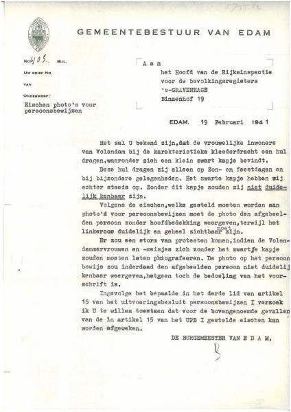Brief burgemeester Edam 1941