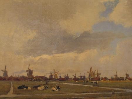 Schilderij: Zaans landschap met molens, door H.W. Jansen, ca. 1900.