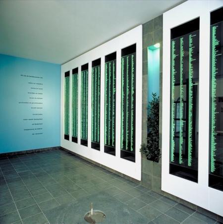 Namenwand met de 6700 familienamen in de gedenkruimte van de Hollandsche Schouwburg.