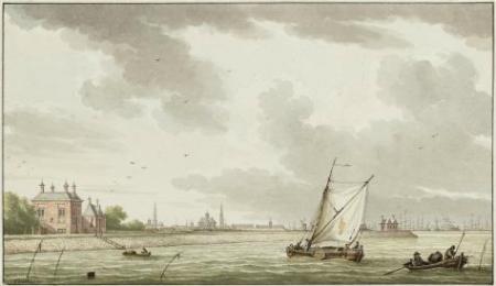 Het Buiten-IJ bij de Diemerzeedijk, met op de achtergrond het Gemeenlandshuis. Collectie Stadsarchief Amsterdam